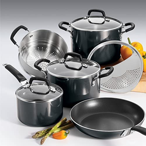 Tramontina 80151 566DS Porcelain Enamel Heavy-Gauge Aluminum Nonstick Cookware Set, 9-Piece, Made in USA, Medium Gray