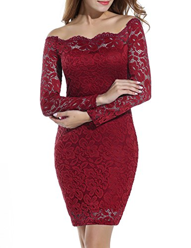 ACEVOG Women's Off Shoulder Lace Dress Long Sleeve Bodycon Casual Dresses (Large, Wine Red)