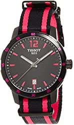 Tissot Quickster Black Dial Black and Hot Pink Nylon Mens Watch T0954103705701