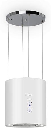 Klarstein Barett - Campana extractora aislada, Ø 35cm, Potencia de 190 W, Ventilación máxima de 590 m³/h, 3 niveles de potencia, CEE B, Iluminación LED, Acero inoxidable cepillado, Blanco: Amazon.es: Hogar