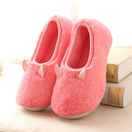 Y-Hui invierno zapatillas de algodón con bolsa caliente hombre par interiores Home Furnishing Home Anti-Skid zapatillas en invierno 2086 watermelon red