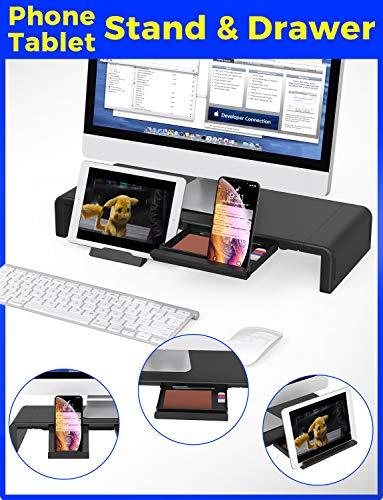 Monitor Stand Riser, Computer Laptop Riser Shelf with Organizer Drawer, Adjustable Length, Speaker TV PC Laptop Computer Screen Riser Desk Organizer, EURPMASK(Black) Photo #6