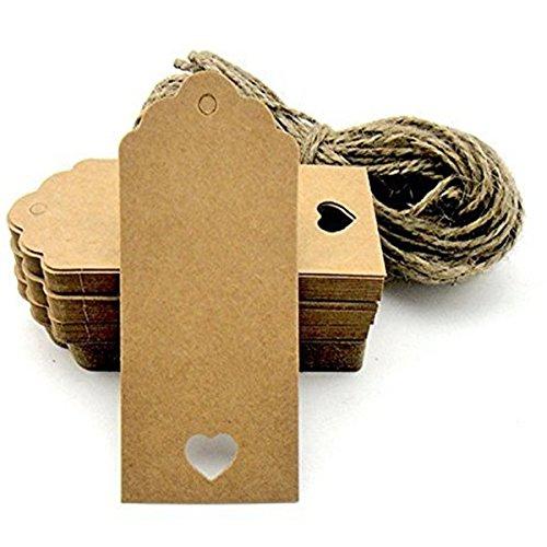 Beito forma di cuore hole Kraft etichette regalo 100pcs/lotto indumento prezzo tag 9.5*4.5cm copertina rigida Cards DIY etichette per regali