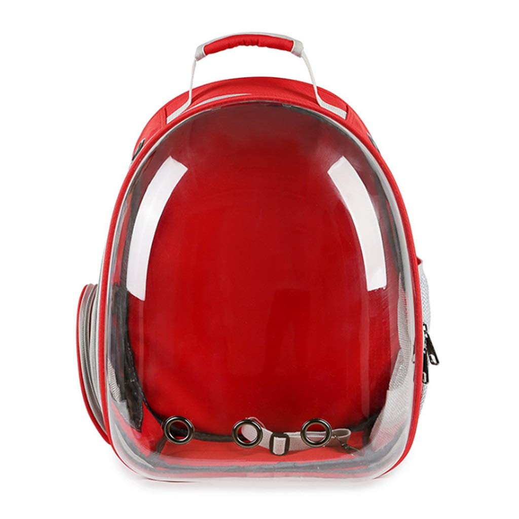 LCY Pet Bag Out Portable Capsule Cat Bag Breathable Dog Backpack Transparent Bag Wide 31  42  28cm (red)