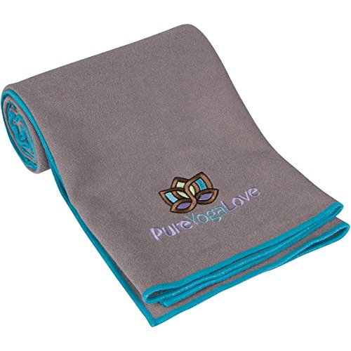 Yoga Towel Super Absorbent, Skidless Improves Mat Grip Reduce Injuries, Machine Wash, Quick Dry, Protect Your Yoga Mat- Durable , Fitness, Pilates, Sports- By Pure Yoga Love