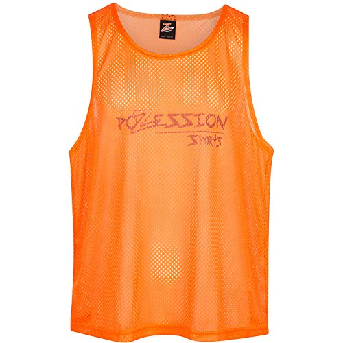Polyester Training Bibs (Sports Pinnies Scrimmage Vests Training Bibs - Set of 12 for Youth Teens Adults by Pozession Sports (Flash Orange, Large))
