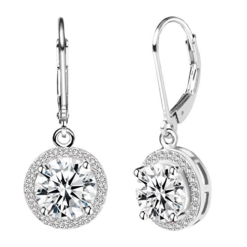 Silver Leverback Cubic Zirconia Earrings - Jane Stone Sterling Silver Earrings Cubic Zirconia Halo Earrings Leverback Earrings Round Rhinestone Dangle Earrings Wedding Jewelry for Women Bridal