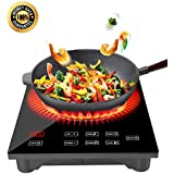 1800W Portable Induction Cooktop with Ceramic Glass Plate Design  Countertop Burner Cooktop with LED Display, Timer and Locker- 120V, 60Hz- Black