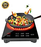 induction cooking burner - Portable Induction Cooktop, Countertop Burner, CUSIBOX 1800W Sensor Touch Electric Induction Cooker Cooktop with LED Display, Timer and Locker for Cooking-Black