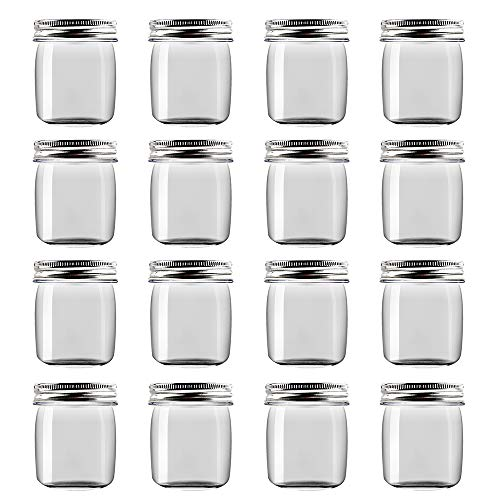 - Novelinks 8 Ounce Clear Plastic Jars Containers With Screw On Lids - Refillable Round Empty Plastic Slime Storage Containers for Cosmetics, Kitchen & Household Storage - BPA Free (16 Pack)