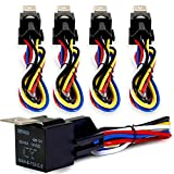 Genssi 30/40 AMP Auto LED Light Bar Relay Wiring Harness SPDT 12V 40A (Pack of 5)