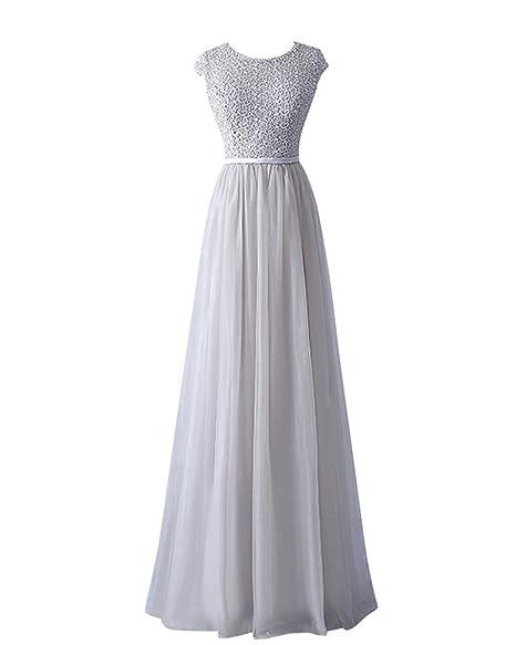 più economico stili freschi colore n brillante YipGrace Donna Tulle Eleganti Lunghi Ball Gown Abito In Pizzo Silver XXL