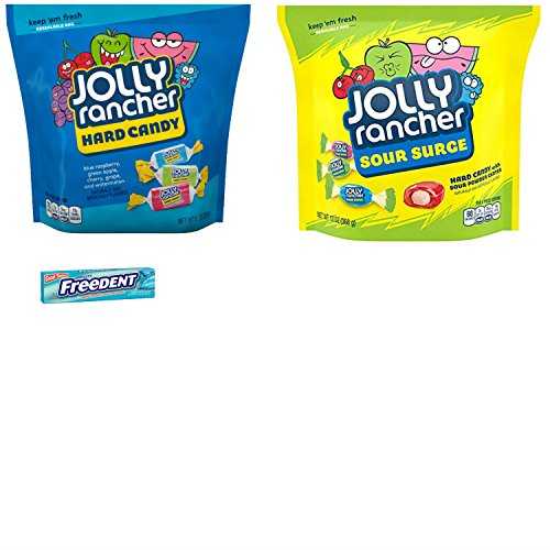 Jolly Rancher Hard Candy Large Bags Combo, with Jolly Rancher Sour Surge and Bulk Hard Candy Assortment. Easy One-Stop Shopping for an Awesome Candy Experience! Also Includes Gum Sample.