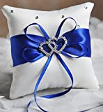 he andi 7.8'' Satin Double Hearts Decoration Wedding Ring Bearer Pillow (Blue)