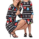 Chinatera Santa Flare Christmas Pattern A Line Xmas Party Dress Mommy and Me Dresses Family Matching Clothes