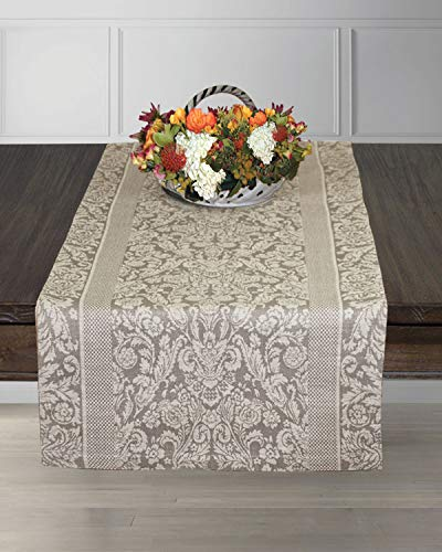 Armani International Regale Table Runner 72-inch Bisque - Seats 4-6 People, Crafted in Europe ()