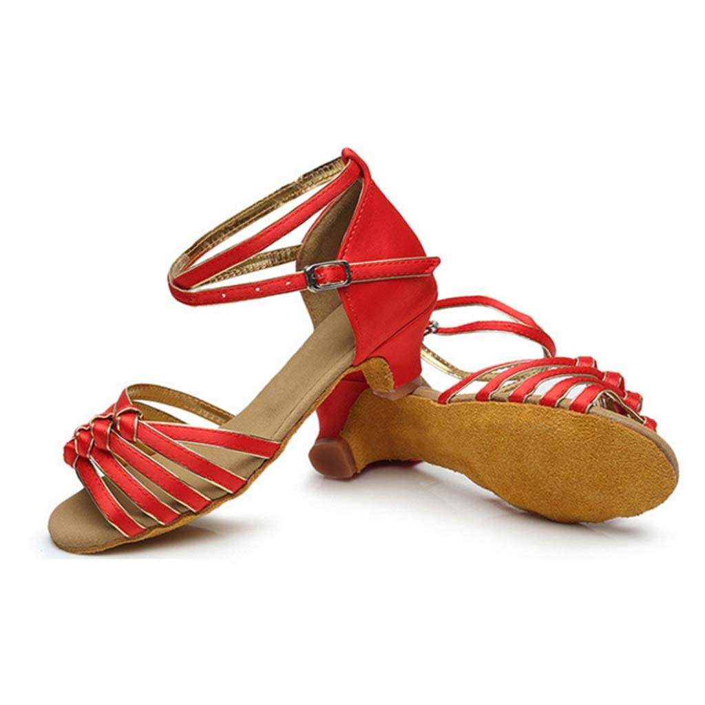 GJ New Girls Knotted 4.5 cm Mid-Heel Soft Latin Dance Shoes Color : A6, Size : 25