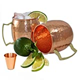 Moscow Mule Copper Mugs Set of 2-100% HANDCRAFTED - Pure Solid Copper Mugs 16 oz Gift Set with BONUS: Highest Quality Cocktail Copper and free Shot Glass!