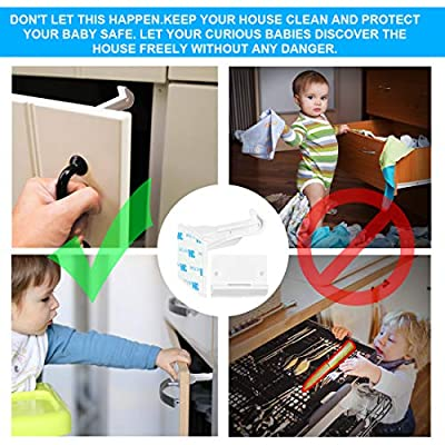 Child Safety Cabinet Locks latches, Babepai 10pcs Child Proof Cabinet Locks, 3M Adhesive, Invisible No Tools or Drilling Needed for Drawers,Cupboard,Closets