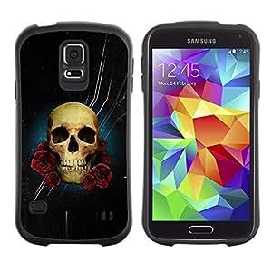 """Pulsar iFace Series Tpu silicona Carcasa Funda Case para Samsung Galaxy S5 , Estrellas noche negra del cráneo de Rose Flores"""""""