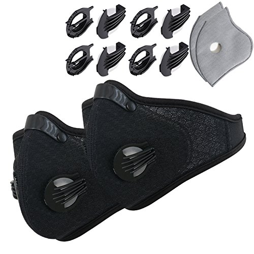 Dustproof Masks - Activated Carbon Dust Mask with Extra Filter Cotton Sheet and Valves for Exhaust Gas, Pollen Allergy, PM2.5, Running, Cycling, Outdoor Activities (2 Set Black and Black, Dust Masks)