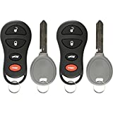 KeylessOption Keyless Entry Remote Fob Uncut Ignition Car Key Replacement for GQ43VT17T, 04602260 (Pack of 2)