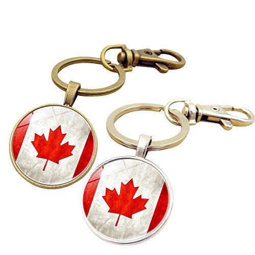 Key Chains Rings Keychains Canada Ca Flag Round Model Clip Hooks Men Women Retractable Decorations Loop Clasp 2 pcs【1797】 - Canada Ball Chain