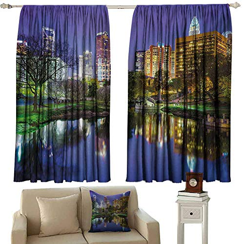 DuckBaby Printed Curtain City North Carolina Marshall Park United States American Night Reflections on Lake Photo Noise Reducing Curtain W55 xL63 Multicolor Carolina Printed Curtain Panels