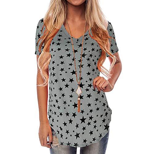 6422274523 good UFACE Shirt Damen Sommer V-Ausschnitt T-Shirt Kurzarm Stern Print Lange  Bluse