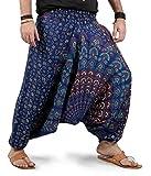 Mens Womens Harem Pants - Mandala Style (Blue White Binary)