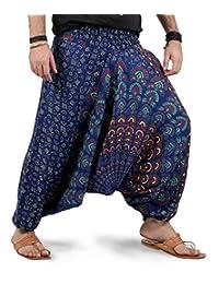 THS Mens Womens Yoga Wide Leg Boho Hippie Comfy Harem Pants - Mandala Style