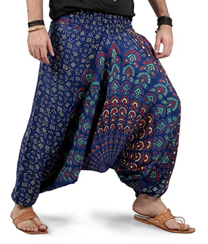 Mens Womens Harem Pants - Mandala Style (Blue White Binary) -