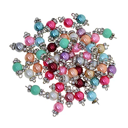 Baosity 50 Pieces Colorful Glass Pearl Beads Charms with Loop Wire and Rondelle Rhinestone Beads Pendant Connectors for Jewelry Making Necklace Earring - White k