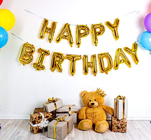 Premium Gold Happy Birthday Balloons Banner with Durable Foil 16 Inch Mylar 13 Individual Balloon Letters. Stronger Seal for Longer Life. Ultimate Birthday Party Decoration Supplies