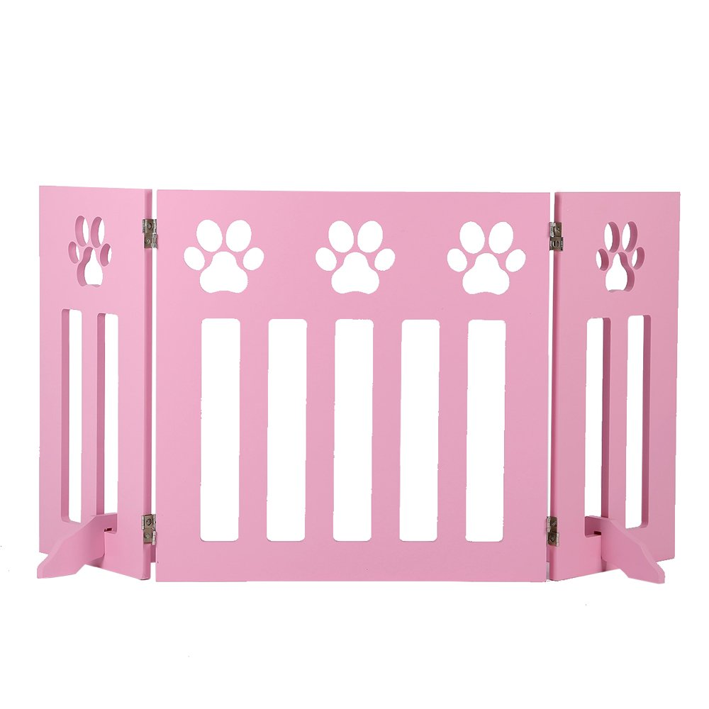 Freestanding Wooden Pet Gate, 3 Panel Folding Wooden Fence, Pink Puppy Gate for Indoor Hall Doorway Stairs, Fits Small Animals | 24 Inch Tall