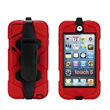 iPod Touch 6 Case,iPod Touch 5 Case - Hard belt clip design with Soft Hybrid Armor Defender Sports Combo Case for Apple iPod Touch 5 Generation iTouch 6th Generation (Red)