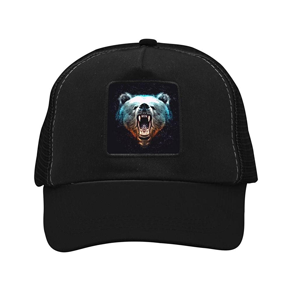 Nichildshoes hat Mesh Cap Hat for Men Women,Print The Roaring of The Bear