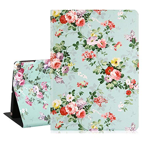 Hepix Floral iPad 9.7 Case iPad 6th Generation Case Flowers Pink Roses Girly iPad Air 2 Case Leather Slim Lightweight Smart Protective Case with Auto Sleep Wake for iPad 2018/2017 6th/5th Gen