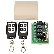 INSMA DC 12V 4CH Channel 433Mhz Wireless Remote Control Switch With 2 Transimitter RF Relay Toggle Switch