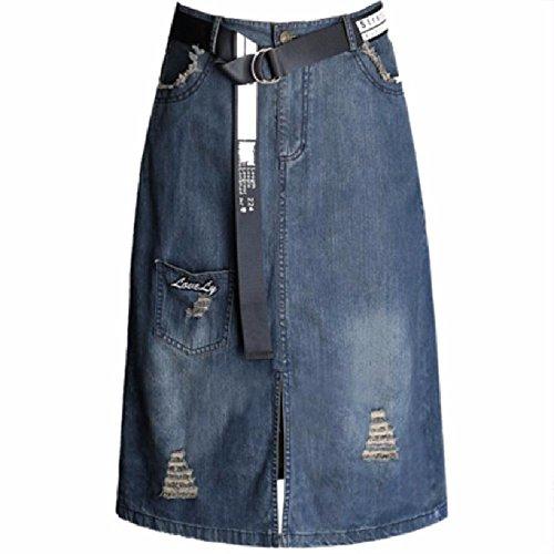QPSSP Jeans, Longue Taille, Une Taille De Jupe, Split La Jupe, Moiti Robe Blue