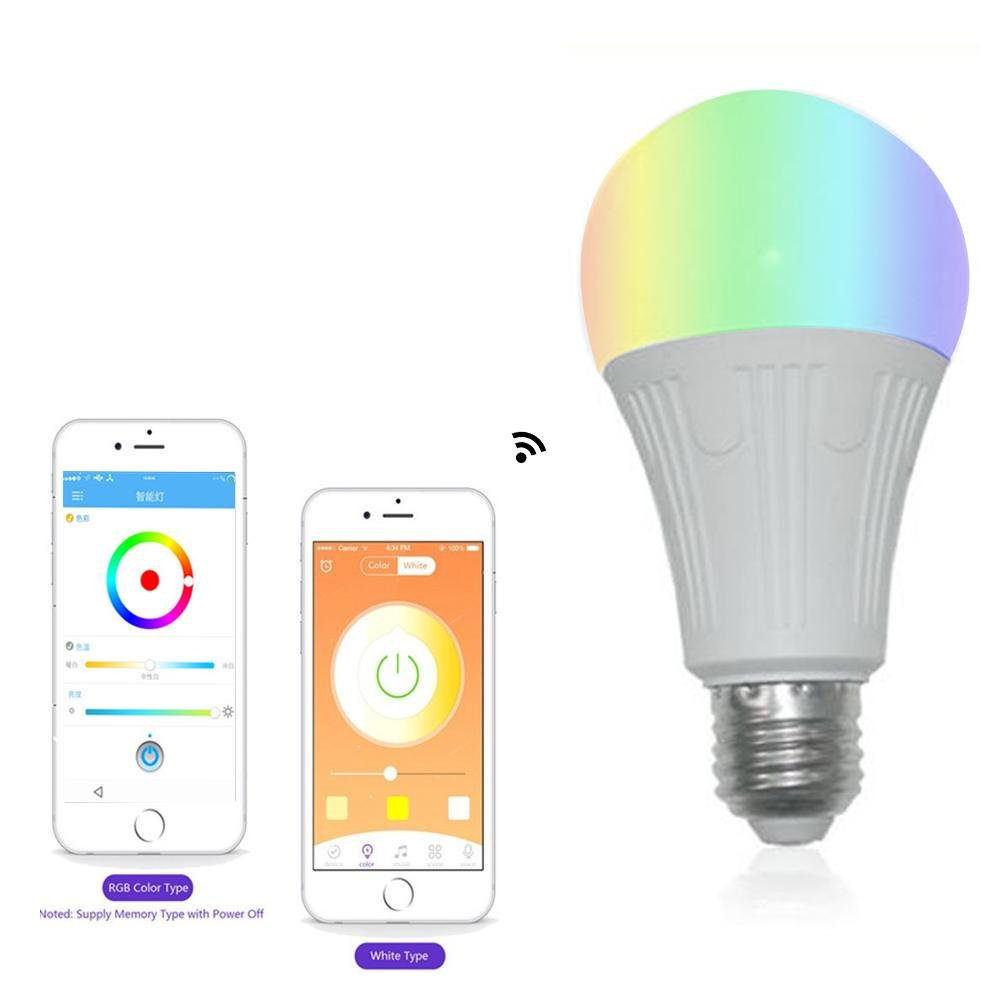Teepao Wifi Bulb Dimmable, Multicolor Voice Controlled Light Smart Led Bulb Including 16 Million Color Light Work with Amazon Echoã€Echo Dotã€Amazon Tap(50w Equivalent,18 Led Light Beads) by Teepao (Image #4)