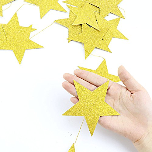 Coceca 50ft Star Paper Garland Bunting Banner Hanging Decoration for Party Decoration, 3.7inches (Gold) by Coceca (Image #3)