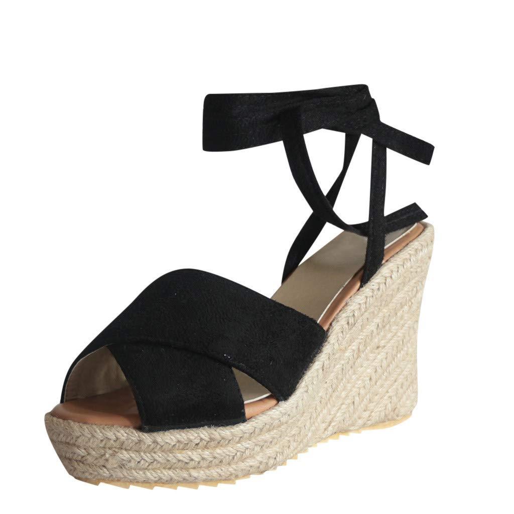 LUCAMORE Womens Lace Up Platform Wedge Espadrille Heel Open Toe Slingback Sandals