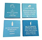 Party Tableware Today Funny Cocktail Napkins Fun Quotes Blue Variety Pack 40 total napkins