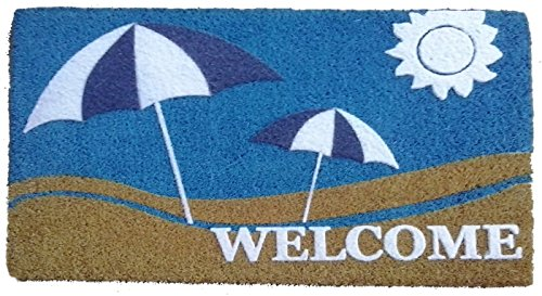 Florida Door Mat (Imports Decor Sun and Sand Vinyl Backed Coir Doormat with Flocked Pattern, 30 x 18 x 1/2