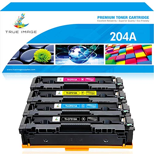 TRUE IMAGE Compatible Toner Cartridge Replacement for HP 204A M180nw CF510A Toner for HP Color Laserjet Pro MFP M180nw M154nw M180n M154a Pro MFP M181fw Printer CF511A CF512A CF513A Toner Ink -4Packs