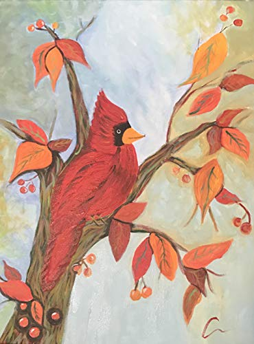 Cardinal in Autumn Original Acrylic - Pumpkin Cardinals