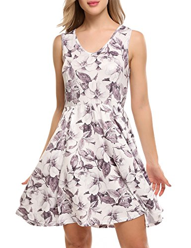 ACEVOG Womens Casual V Neck Sleeveless Fit and Flare Floral Swing Party Cocktail Dress