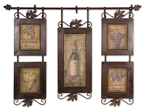 Metal Grapes Bottle Wine (Wine Bottles Grapes Hanging Collage Artwork | Kitchen Winery Wall Art)