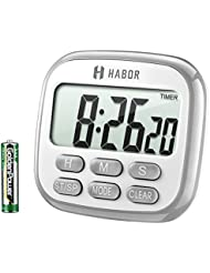 Habor Kitchen Timer Digital Cooking Timer Clock, Large Display, Loud Alarm, Magnetic Back Stand Hanging, Memory Hour Minute Second Count Up and Countdown Timers for Kids Exercise Cooking Baking Game